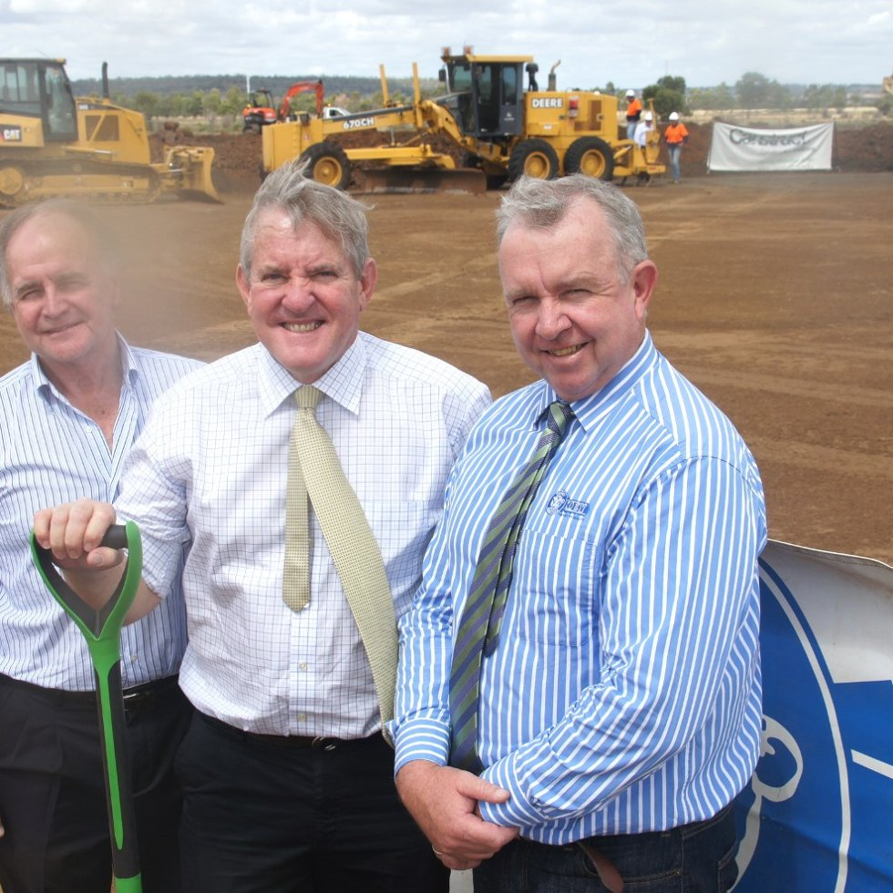 Industry Minister Ian Macfarlane turned the first sod on Friday as part of Oakey Holdings' new waste-to-energy technology project. With him are Oakey general manager Pat Gleeson, right, and CST Wastewater Solutions director, Michael Bambridge.
