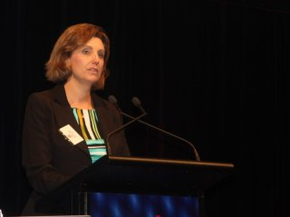 RSPCA chief executive officer Heather Neil addressing the BeefEx conference on the Gold Coast yesterday.