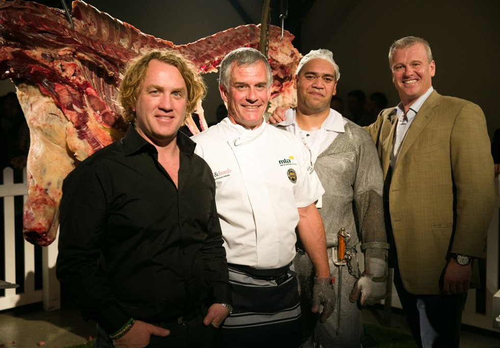 Celebrity chef Adrian Richardson, Doug Piper (MLA), Rico Noa (JBS) and Sam McConnell (JBS) during the Great Southern launch