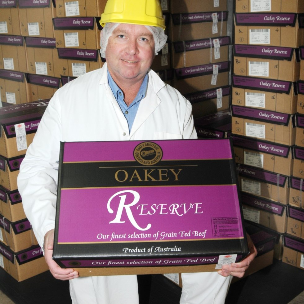 Oakey general manager Pat Gleeson with a sample of the Oakey Reserve product that claimed Sydney's champion grainfed award