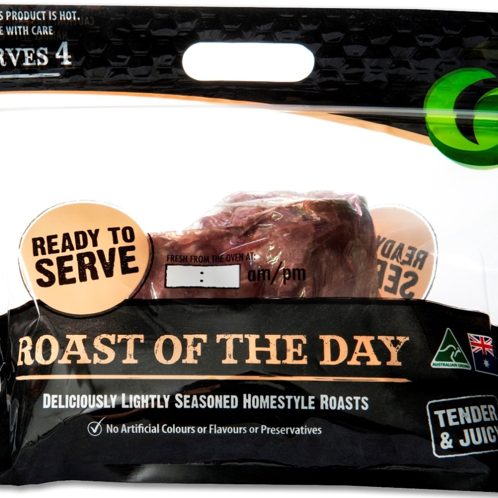 The grab-and-go pre-cooked roast as it was seen during a Woolworths trial in 20 stores last year. The 'ovenable' nylon-based cook-in bag can be seen inside the carry-home pack.