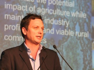 WWF Australia sustainability manager Rob Cairns addresses the Sustainable Beef roundtable seminar at Beef 2012.