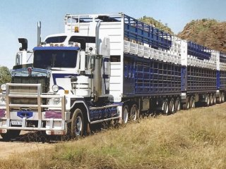 A Leeds Transport Kenworth Prime mover pulling a seven-deck trailer configuration designed by the company and approved for use on WA roads.