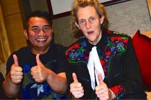 Two thumbs up: Guntur Pribadi and Temple Grandin.