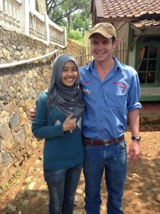 Veterinary science student Elliot O'Farrell with an Indonesian  student in Cimaung village.