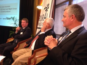 Ian McCamley (left) discusses ag sustainability with fellow panellists Tony Gleeson and Adam Kay.
