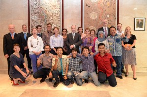 Northern cattle producers and Indonesian pastoral student exchange students meet with digniaries at the Australian embassy in Jakarta.