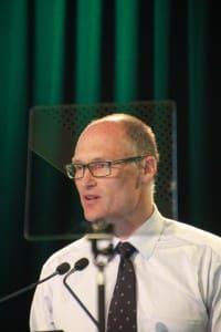 MLA global marketing manager Michael Edmonds addresses the MLA AGM in Sydney.