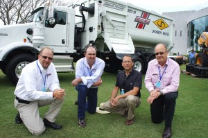 John Dee director, John Hart, right, pictured with Rotomix sales personnel at BeefEx last year, looking over Yarranbrook's new RotoMix 920-18 mixer truck bought as part of the feedlot's preparations for expansion.