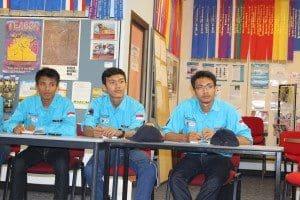 Indonesian exchange students studying at Charles Darwin University's Katherine Rural Campus, from left: Johandi (Joe), Taufiq Muyaddad (Taufiq) and Tommy P Utama (Tommy).