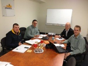 A quarterly Bulla Burra board meeting with Andrew Biele, John Gladigau, Jeff McDonald and Robin Schaefer. Picture: Bulla Burra.
