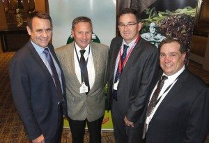 MLA managing director Richard Norton, left, and JBS's Mark Inglis, right, with beef producers Chris Stanley, CS Livestock, Melbourne and Jono Craven. Gippsland Water Agribusiness during the official launch of the LDL program in Melbourne on Friday.