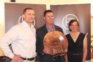 Rodney Galati (overall team, overall heifer, feedlot team winner), with Wayne Shaw Harvey Beef), and Allison Watson.