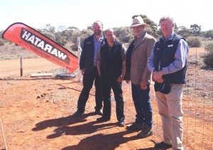 Looking at exclusion fencing options at the Michael Sala Tenna from Waratah, National Wild Dog Management Facilitator Greg Mifsud, Ross Wood of the Kalgoorlie Pastoral Alliance and Paul Jones from Waratah all attended the Kalgoorlie Innovation Conference were from left, Waratah's Michael Sala Tenna, National Wild Dog Management Facilitator Greg Mifsud, Ross Wood of the Kalgoorlie Pastoral Alliance and Paul Jones from Waratah.