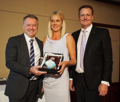 Shadow Minister for Agriculture Joel Fitzgibbon presents Emily Bryant from Argyle Downs in WA with the Ambassador of the Year award, with CEO Troy Setter