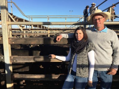 Julie and Jeremy Shaw, JS Grazing, Double J, Injune, watched their family's Angus-cross steers sell to 408c/kg and 402c/kg for 315kg to return $1270/head at Roma's Store Sale on Tuesday. Picture: Martin Bunyard