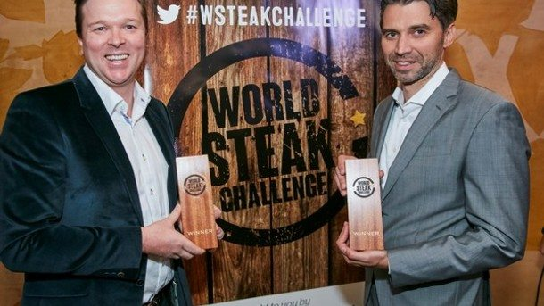 Jack's Creek's Patrick Warmoll and importer Frank Albers display their World Steak Challenge winner's trophies