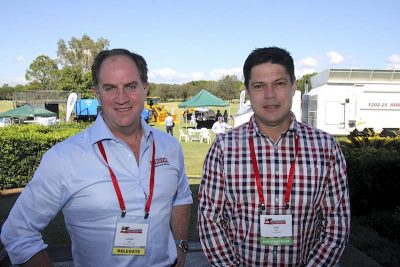 Kerwee's Lachie Hart, left, with Iranda Beef's Paul Vogt at BeefEx yesterday.