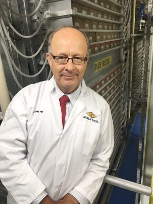 John Dee's John Hart in front of banks of plate freezers recently installed in the Warwick, QLD export plant