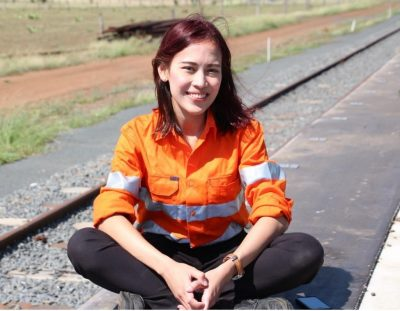 Ade Ariantika at Oakey's recently completed cattle rail siding