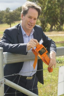 Ian Reilly from Agersens, with an eShepherd virtual fencing collar which will be released as a prototype in June.