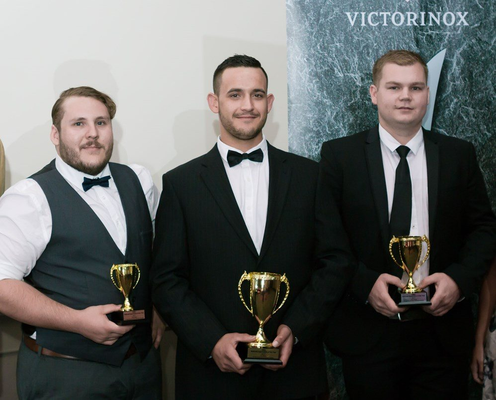 The Australian Meat Industry Council's 2017 apprentice of the year, Chris Lukaitis. centre, with runners-up Ben Floyd from Brisbane and Reece Jeffree from Mitcham, SA.
