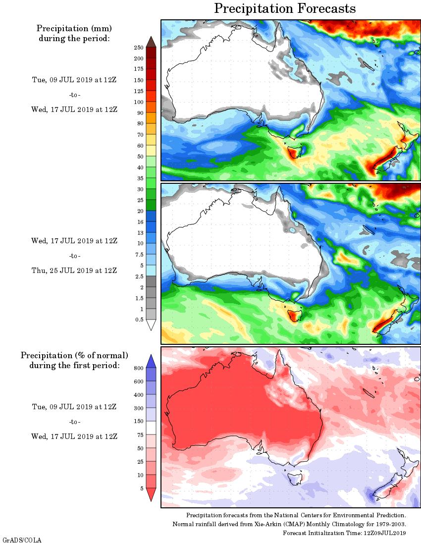 weekly rainfall wrap   rain outlook  10 july 2019